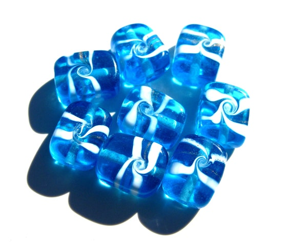 8 Aqua and White Approx 15x12x8mm Lampwork Glass Beads S 018