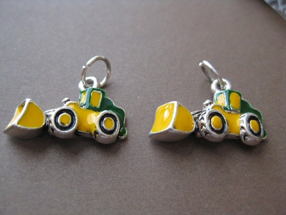 Pk 2, Vintage, John Deere Front End Loader Charms, 1 pair, silver plated with enamel, drop, pendant, 10x21mm (LO1) 801L