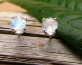 Blue Moonstone Stud Earrings in Gold, Silver, Platinum, or Palladium with Genuine Gems, 4mm - Free Gift Wrapping