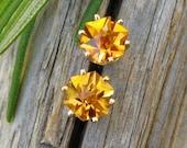 FAIR TRADE Citrine Hexagon Stud Earrings in 14k Yellow Gold with Genuine Gemstones, 6mm