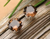 Smoky Quartz Earrings in Gold, Silver, Platinum, or Palladium with Genuine Gems, 8mm - Free Gift Wrapping