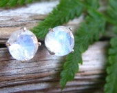Blue Moonstone Stud Earrings in Gold, Silver, Platinum, or Palladium with Genuine Gems, 6mm - Free Gift Wrapping