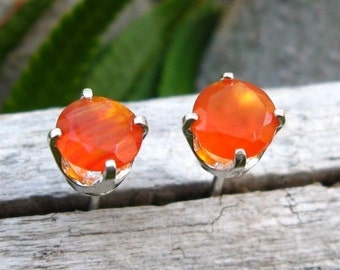 Orange Carnelian Earrings in Gold, Silver, Platinum, or Palladium with Genuine Gems, 5mm - Free Gift Wrapping