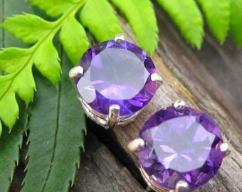 Amethyst Earrings in Gold, Silver, Platinum, or Palladium with Genuine Gems, 8mm - Free Gift Wrapping