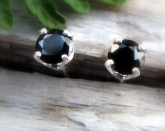 Black Spinel Earrings in Gold, Silver, Platinum with Genuine Gems, 4mm - Free Gift Wrapping
