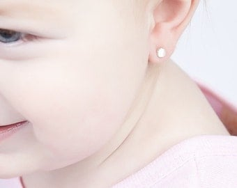 Boutique Earrings for Baby and Mom - 4mm White Moonstone Studs, Cabochon Earrings in Silver