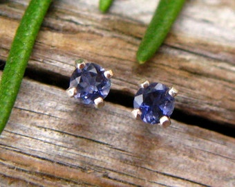 Iolite Earrings in Gold, Silver, Platinum with Genuine Gems, 3mm - Free Gift Wrapping