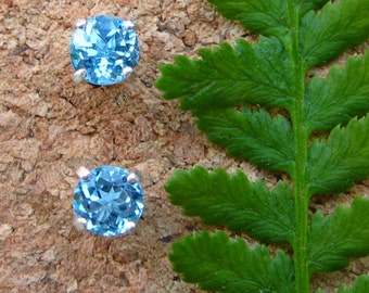 Swiss Blue Topaz Earrings in Gold, Silver, Platinum, or Palladium with Genuine Gems, 4mm - Free Gift Wrapping