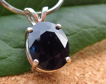 Black Sapphire Pendant in Sterling Silver, Genuine Gemstone - Free Gift Wrapping