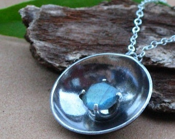 Day or Night is Decided By Light - Labradorite Necklace in Oxidized Sterling Silver - Free Gift Wrapping