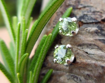 Demantoid Garnet Studs - Genuine Demantoid Garnet Stud Earrings, Real 14k Gold, Platinum, or Sterling Silver - 3mm, 3.6mm