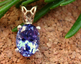 Tanzanite Pendant in 14k Yellow Gold and Silver, Fair Trade and Recycled, 8x6mm - Free Gift Wrapping