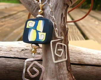 Blue Summer - Blue and Yellow Geometric Polymer and Sterling Silver Necklace - Free Gift Wrapping