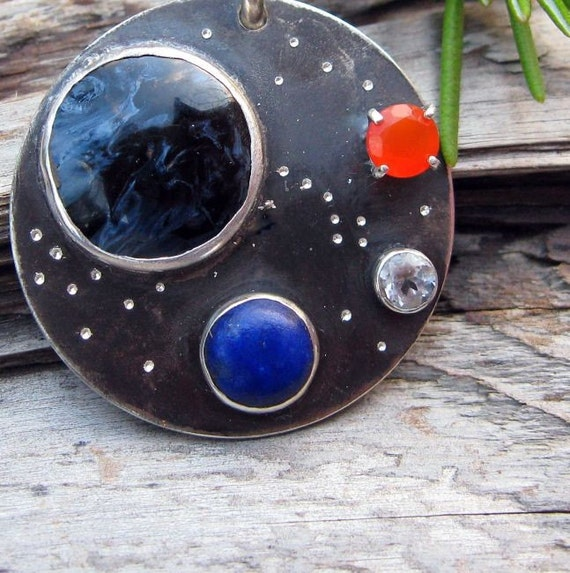 Galaxy Pendant with Gemstone Planets - Sterling Silver with Pietersite, Lapis, Carnelian, and White Topaz - Free Gift Wrapping