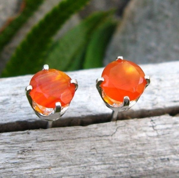 Orange Carnelian Earrings in Gold, Silver, Platinum with Genuine Gems, 5mm - Free Gift Wrapping