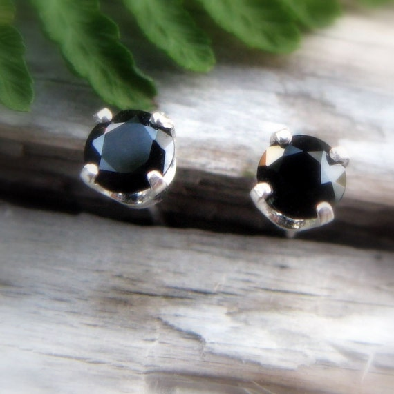 Black Spinel Earrings in Gold, Silver, Platinum, or Palladium with Genuine Gems, 4mm - Free Gift Wrapping