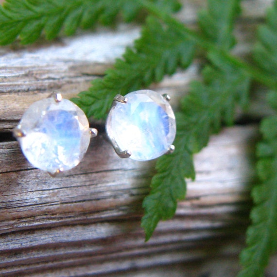 Blue Moonstone Stud Earrings in Gold, Silver, Platinum with Genuine Gems, 6mm - Free Gift Wrapping