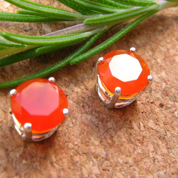 Orange Carnelian Earrings in Gold, Silver, Platinum, or Palladium with Genuine Gems, 8mm - Free Gift Wrapping