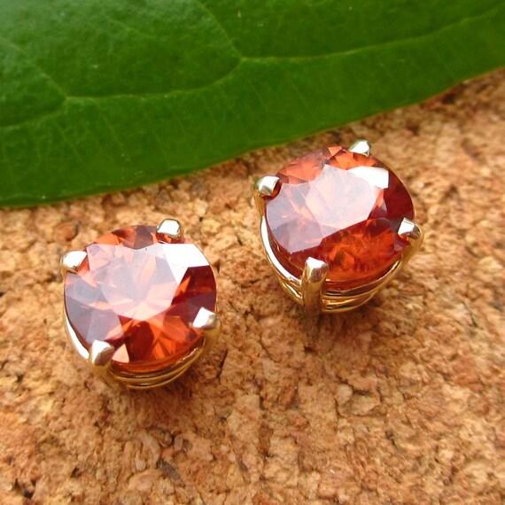 Cognac Zircon Earrings in 14k Gold- Stud Earrings with Genuine Gemstones - Free Gift Wrapping