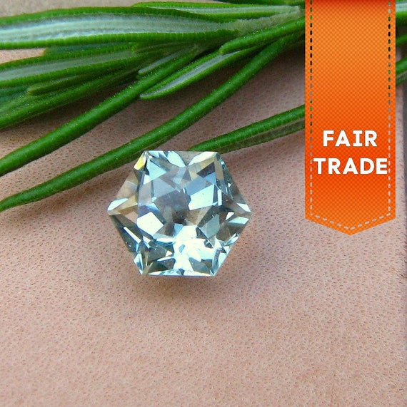 Reserved for amykushner-  FAIR TRADE Polar Feldspar, Ice Blue-Green Loose Faceted Gemstone - Precision Cut Hexagon