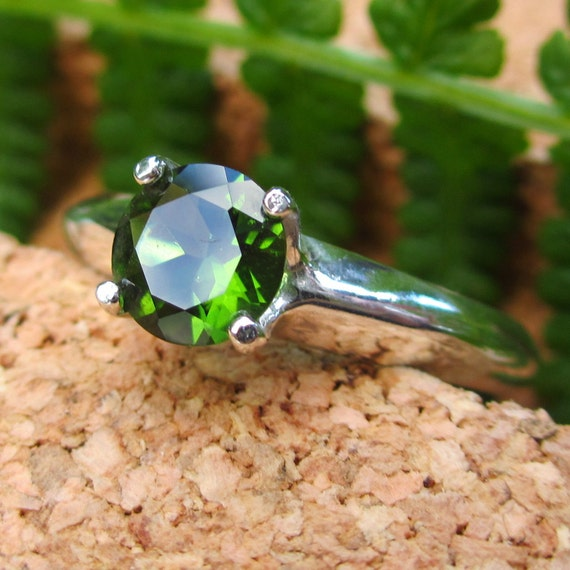 FAIR TRADE Emerald Green Tourmaline Ring in Sterling Silver, Men's or Women's Gemstone Ring - Free Gift Wrapping