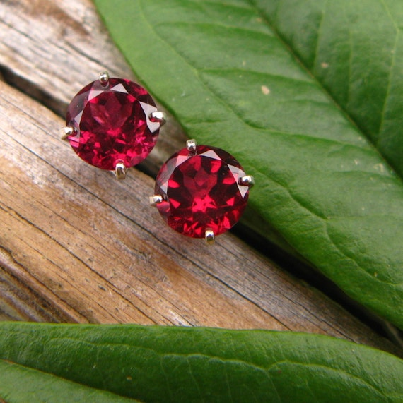 Pink Rhodolite Garnet Earrings in Gold, Silver, Platinum, or Palladium with Genuine Gems, 6mm - Free Gift Wrapping