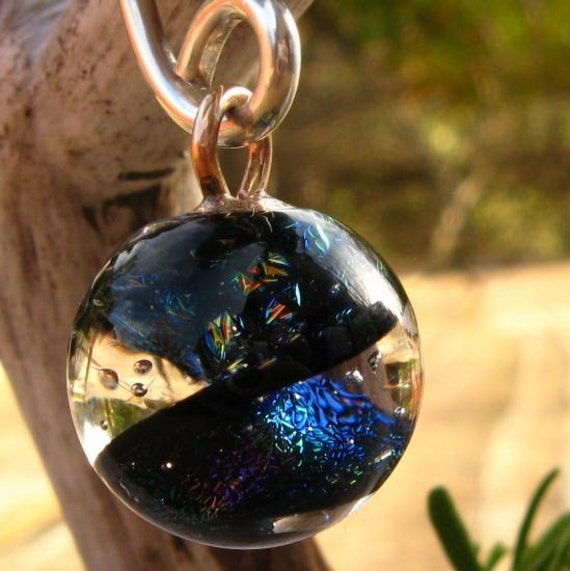 Mystical World Gauged Earring - 12 Gauge Recycled Sterling Silver with Dichroic Glass - Eco Friendly - Free Gift Wrapping