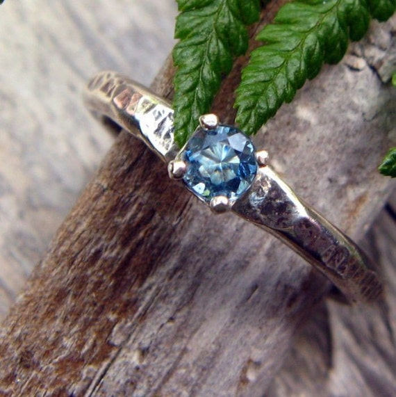 Dark Blue Aquamarine And Sterling Silver Ring Genuine
