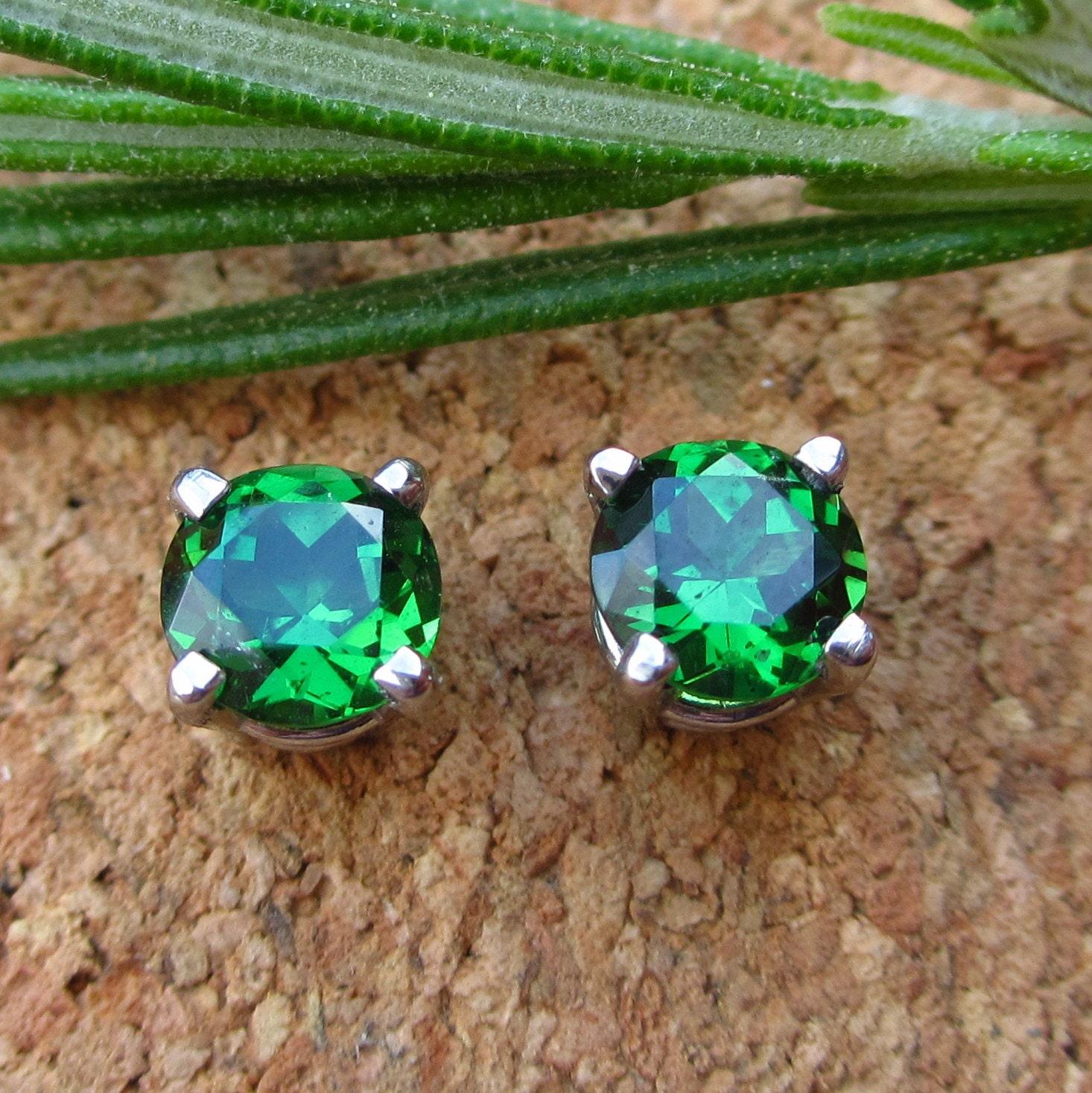 Tsavorite Garnet Earrings Fair Trade Palladium Screw Back Yellow Diamond Stud Earrings