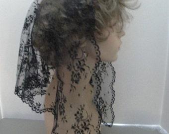 Black Sheer Lace Mantilla Headcovering -- The Geneva Style in 3 Sizes, PREMIUM Chapel Veil