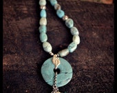 African Blue Opal & Turquoise Pendant Necklace with Sterling Silver