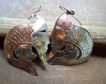 WOMAN FISH -  Silver and copper Earrings