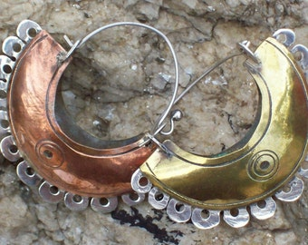ELMI DOUBLE-FACE - Silver, copper and brass Earrings