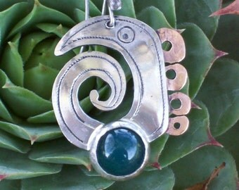 green EYE - Silver Earrings with stone