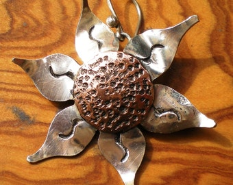 SUNFLOWERS LARGE - Silver and copper Earrings