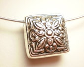 Fine silver square lentil focal Made to order