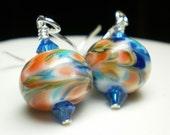 Summer breeze lampwork on sterling earrings