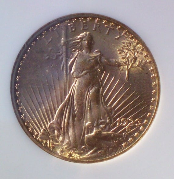 1923 Saint Gaudens 20 Dollar 90% Gold Double Eagle Coin MS61