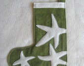 Green Felt Starfish Stocking Small