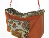 Upcycled Tangerine Handbag, Coral Tapestry Rose Print with Beaded Handle