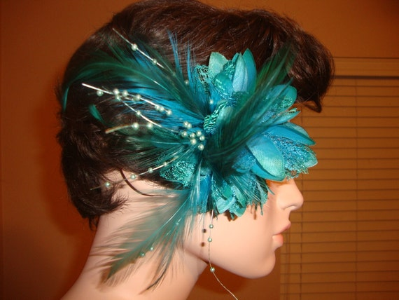 Turquoise Silk Feathered Lace Flower Fascinator