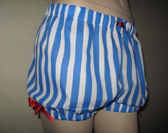 Blue  White Red Striped Short sissy knickers ,pantaloons, lolita,rock,crossplay,Bloomers