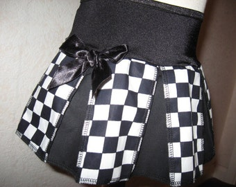 Sequoia,Black & white large check Print Cheerleader Skirt,Mod,Rock,Goth,Punk Festival
