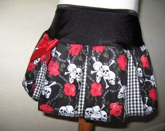 Sequoia,Black,red & white skulls,roses,check  Print Cheerleader Skirt,Mod,Rock,Goth,Punk Festival