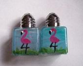 Hand painted mini salt and pepper shakers shaker  pink flamingos pink flamingo tropical beach