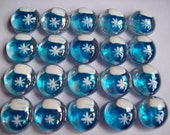 Hand painted glass gems party favors Christmas Blue snowflake mittens mitten gloves glove