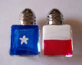 Hand painted mini salt and pepper shakers  shaker  TEXAS FLAGS  FLAG