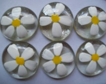 Hand painted large glass gems party favors crafts wedding  daisy daisies