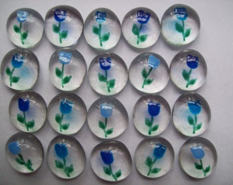 Hand painted glass gems blue long stem ROSES ROSE party favors wedding