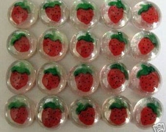 Hand painted glass gems party favors  mini art  STRAWBERRIES STRAWBERRY